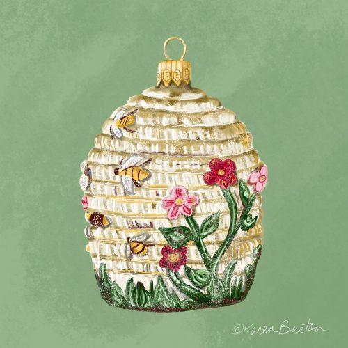 Bee Hive Ornament   Karen Burton
