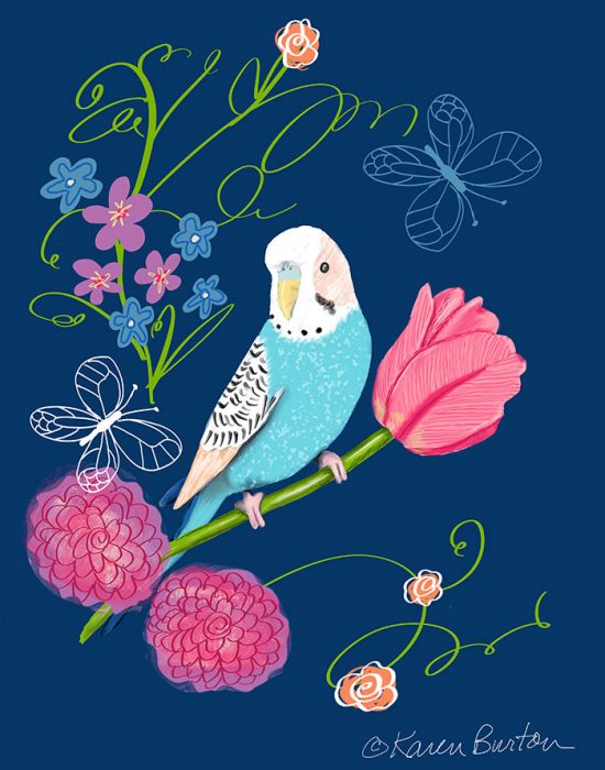 Karen Burton | Parakeet in the Garden