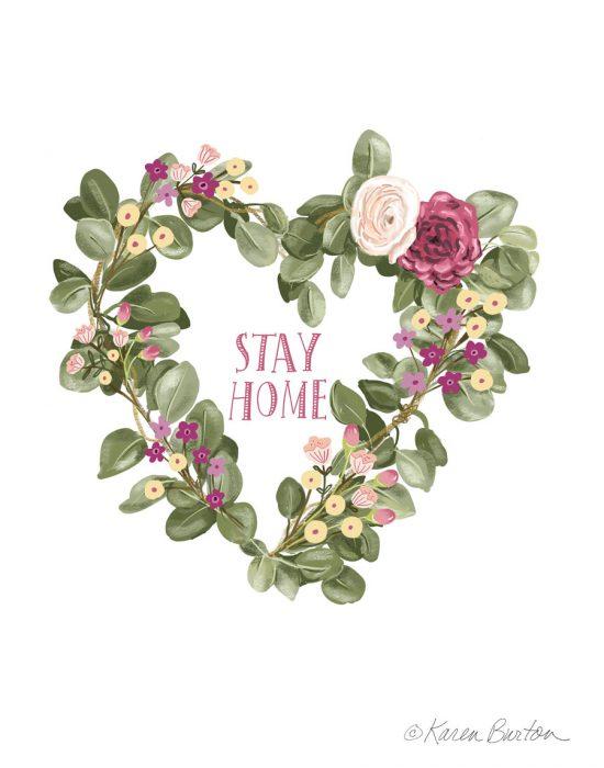 Stay Home Heart Wreath | Karen Burton