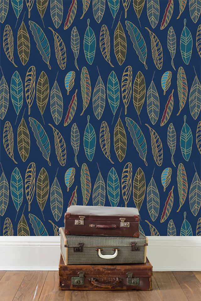 Karen Burton | Feathers Wallpaper, navy