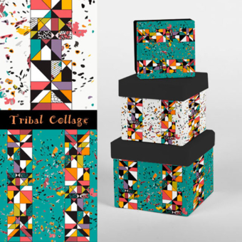 Karen Burton | Tribal Collage, Boxes