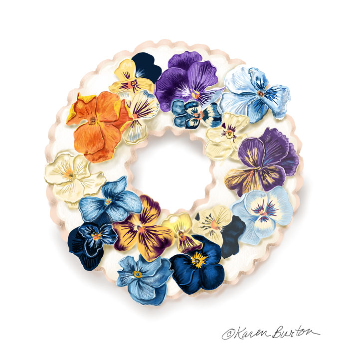 Karen Burton | Lavender Cookie with Pansies