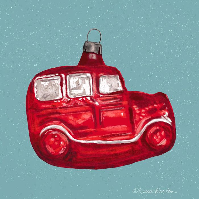 Karen Burton | Ole Xmas Truck Ornament