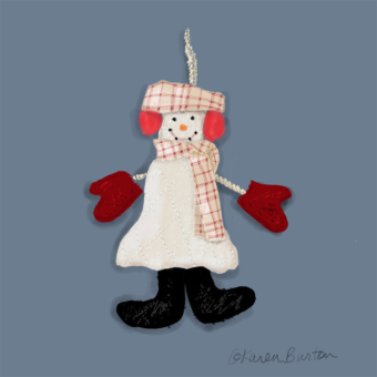 Karen Burton | Plaid Scarf Snowman Ornament