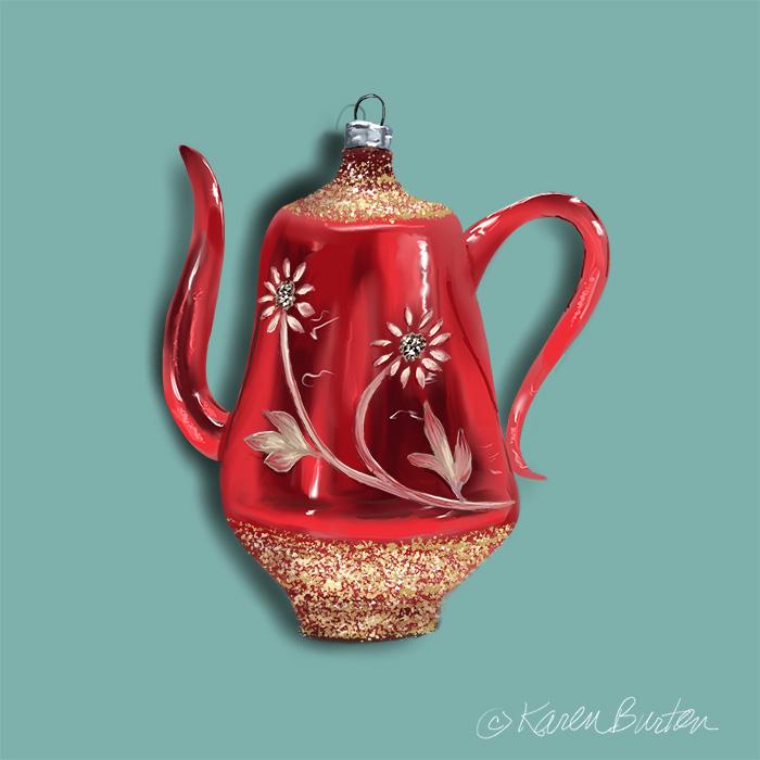 Karen Burton - Red Teapot Ornament