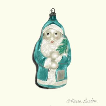 Karen Burton | Santa Ornament, Teal