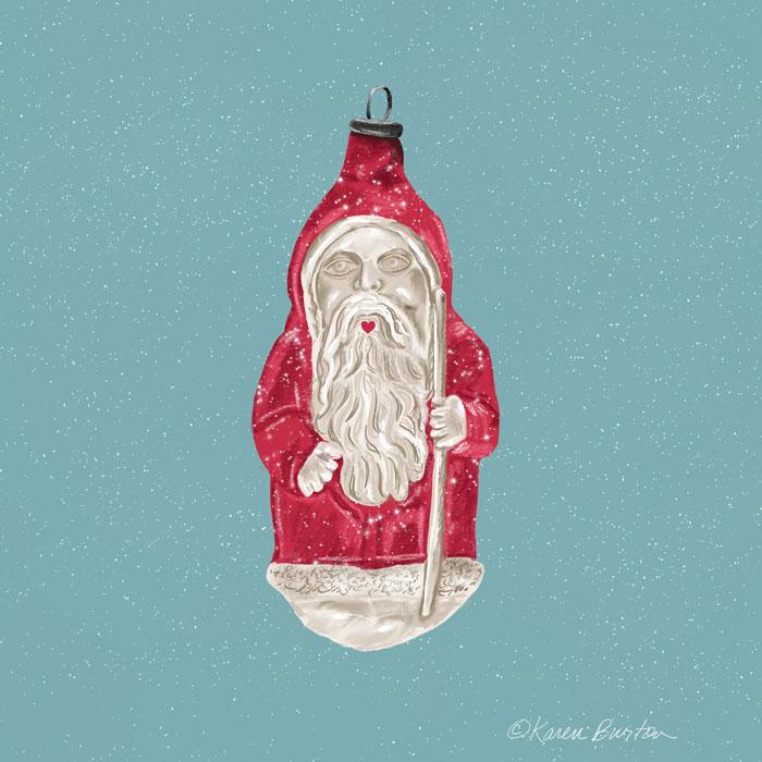Karen Burton - Santa Heart Mouth Ornament